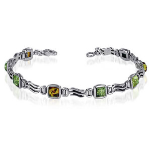925 Sterling Silver Square 6mm Multicolor Amber 8 inch Link Bracelet With Lobster Clasp