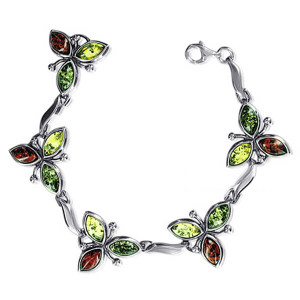 925 Sterling Silver Marquise Flower 1 inch Multicolor Amber 7 inch Bracelet With Lobster Clasp