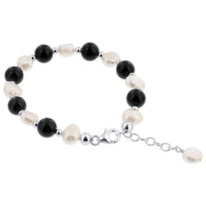 Sterling Silver 8mm White imitation Nugget Pearl and Onyx 7 to 8 inch Handmade Swarovski Elements Bracelet