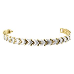 Two tone Magnetic 7.5 inch Link Bracelet with Fold Over Clasp