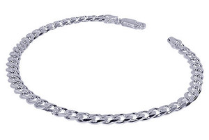 925 Sterling Silver 4mm Cuban Link 7, 8, 9 Inch Mens Bracelet With Lobster Clasp