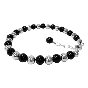 925 Sterling Silver Round Black Onyx and Beads Adjustable