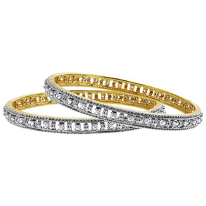Two Tone Clear Cubic Zirconia Paved Design Bollywood Indian Bangle Bracelet Size 2.6 set of 2