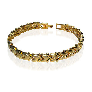 Magnetic Link Yellow Gold Heart Therapy Bracelet with Fold over Clasps