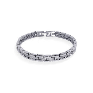 "Magnetic Link Textured Silver Therapy 7.5"" Bracelet with Fold over Clasps"