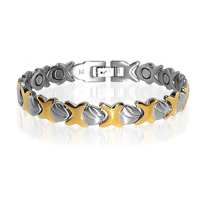 9mm wide Stainless Steel Two Tone Magnetic Golf Bracelet 7.75 inch