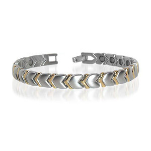 New Stainless Steel Hearts Magnetic Golf Therapy Bracelet 7.5 inch