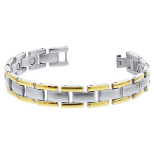 Men's Stainless Steel 2 Tone Magnetic Bracelet
