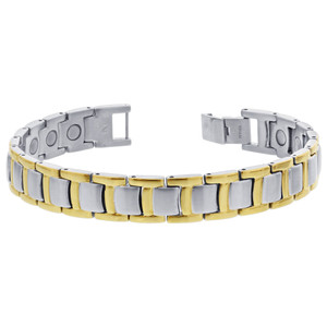 Men's Titanium New Silver Tone Magnetic Bracelet