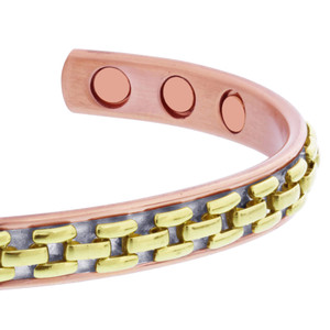 Two Tone Magnetic Copper Clad Cuff Bracelet
