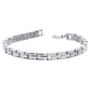 Silver Tone Magnetic Therapy Link Bracelet