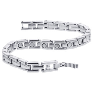 Silver Tone Magnetic Therapy Link 8 inch Bracelet with Fold over Clasps