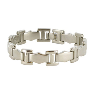 Silver Tone Link Magnetic Therapy Bracelet with Fold over Clasps