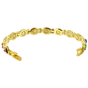 Enamel Flower Gold Plated Link  Magnetic Therapy Bracelet