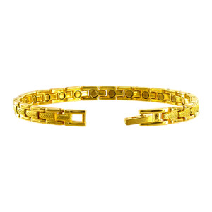 "Gold Tone Link Magnetic Therapy 7.5"" Bracelet with Fold over Clasps"