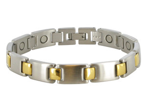 Men's 13mm Stainless Steel Two Tone Magnetic Bracelet 8.5 inch