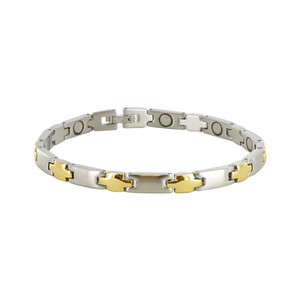 Stainless Steel Two Tone Magnetic Therapy Bracelet