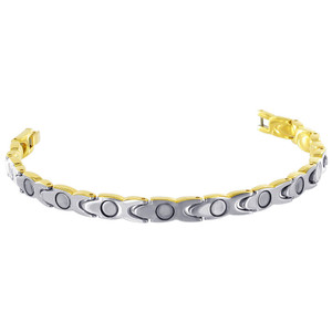 "Stainless Steel Gold Plated Magnetic Therapy 7.5"" Bracelet with Fold over Clasp"