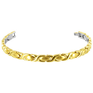 Stainless Steel Gold Plated 8mm Magnetic 7.5 inch Long Bracelet with Fold over Clasp