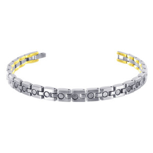 "Stainless Steel Two Tone Magnetic Link Therapy 8.5""Bracelet"