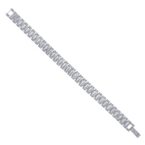 Men's Stainless Steel Silver Tone Wide Magnetic Link Therapy Bracelet