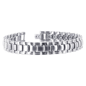 Stainless Steel Silver Tone 12mm Wide Mens Magnetic Link Bracelet 8.5 inch