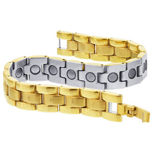 Gold Tone Magnetic Link Therapy Bracelet