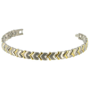 Titanium Two tone Heart 8mm Wide Magnetic Link Bracelet 7.5 inch Long with Fold over Clasp