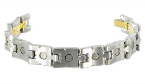 Mens Titanium Two Tone Magnetic Link Therapy Bracelet with Fold over Clasp