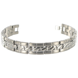 Titanium 12mm Wide Mens Texture Pattern Magnetic Bracelet 8 inch Long with Fold over Clasp