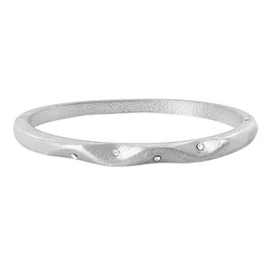 Silver Plated 5mm wide Scratch Style Bangle Bracelet Size 2.6
