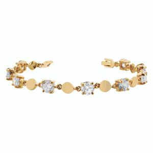 Gold Layered Round Clear Glass Stones 7 Inch Long Bracelet