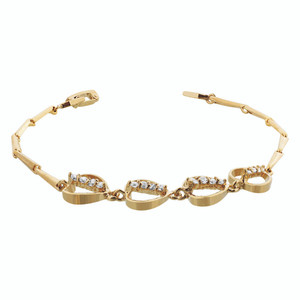 Gold Layered Clear Simulated Stones with Hearts 8 Inch Long Bracelet