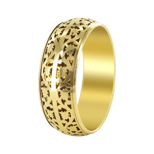 Gold Tone Floral Carved Bangle Bracelets