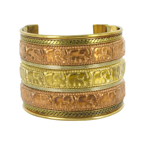 Elephant Parade Engraved Two Tone Finish Fashion Cuff Bracelet