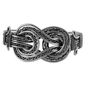 Double Knots Silver Tone Fashion Cuff Bracelet 7 inch