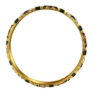 9mm wide Gold Tone Fashion Bangle Bracelet Size 2.6