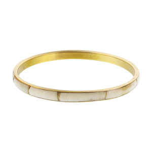 Gold Tone Bone Inlay Vintage Style Bangle Bracelet