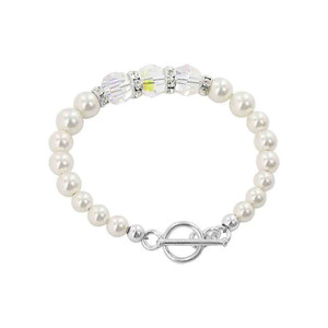 925 Silver White Pearl with Clear AB Crystal Bracelet
