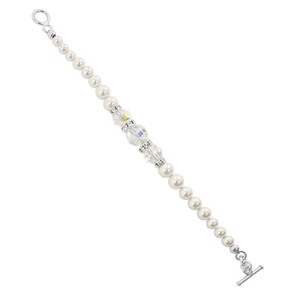925 Silver White Pearl with Clear AB Swarovski Crystal Bracelet 7.5 Inch