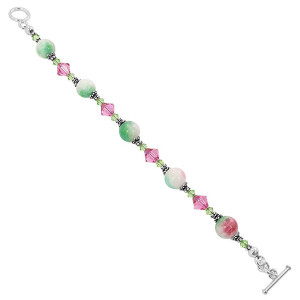 925 Silver Pink & Green Gemstone with Swarovski Crystal Bracelet 7.5 Inch