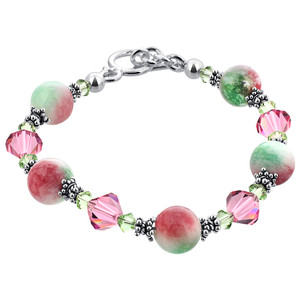 925 Sterling Silver Pink & Green Gemstone with Swarovski Elements Crystal Handmade Bracelet 7.5 inch