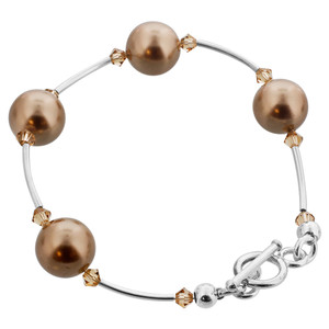 925 Silver  Bronze Faux Pearl with Light Topaz Bracelet