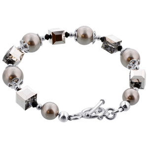 925 Sterling Silver Swarovski Elements Faux Pearl with Crystal Handmade Bracelet 7.5 inch