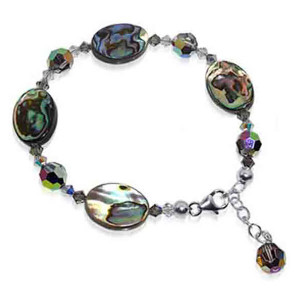 925 Sterling Silver Oval Dyed Abalone with Swarovski Elements Crystal Handmade Bracelet 7 to 8 inch Adjustable