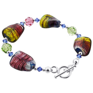 925 Sterling Silver Blown Glass with Swarovski Elements Crystal Handmade Bracelet 7.5 inch