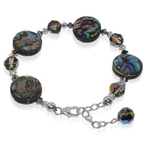 925 Sterling Silver Dyed Abalone with Swarovski Elements Crystal Handmade Bracelet 7 to 8 inch Adjustable