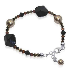 925 Sterling Silver Swarovski Elements Faux Pearl with Crystal Handmade Bracelet 7 to 8 inch Adjustable