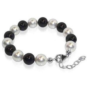 925 Silver Round Black and White Pearl Bracelet