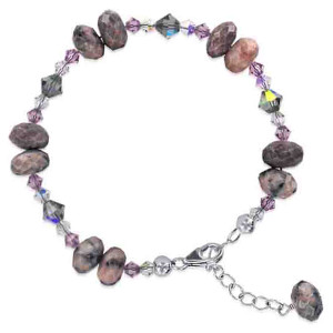 925 Sterling Silver Swarovski Elements Crystal with Pink Purple and Bead Handmade Bracelet 7 to 9 inch Adjustable